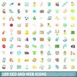 100 seo i sieci ikon ustawiających, kreskówka styl Fotografia Royalty Free