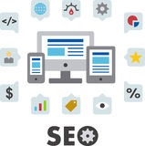 SEO icon illustrations. SEO components illustrated in colorful icons around computing devices Stock Photography