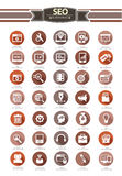 35 SEO Icon Satz, Retrostil, auf weißem Hintergrund Lizenzfreie Stockbilder