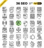 SEO - iconos de la optimización del Search Engine stock de ilustración