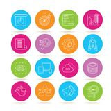 Seo icons. Collection of 16 seo icons in colorful buttons stock illustration