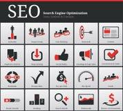 SEO Icons en Symbolen Royalty-vrije Stock Afbeeldingen
