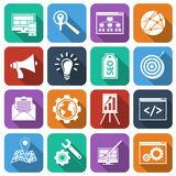 SEO Icons Flat Set Stockbilder