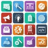 SEO Icons Flat Set Stock Images