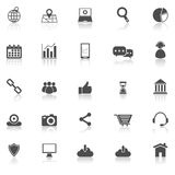 SEO icons with reflect on white background Stock Photography