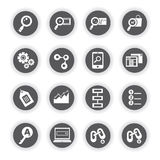 SEO icons, search engine optimization. Set of 16 SEO icons, search engine optimization icons, round buttons vector illustration