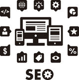 SEO icons. A set of black SEO icons on a white background Stock Images
