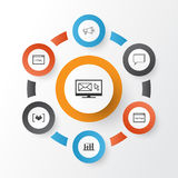 SEO Icons Set. Collection Of Newsletter, Questionnaire, Conference   Stock Photography