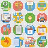 SEO Icons Set Flat Stockbilder