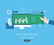 Seo icons. Set of flat design vector illustration concepts for search engine optimization and web analytics elements. Mobile app Stock Photos