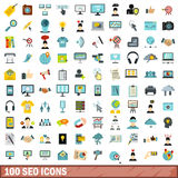 100 seo icons set, flat style. 100 seo icons set in flat style for any design vector illustration Royalty Free Stock Photos