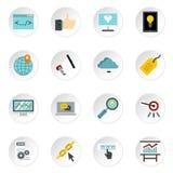 SEO icons set, flat style Stock Photo