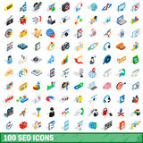 100 seo icons set, isometric 3d style Royalty Free Stock Images