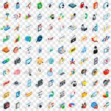 100 seo icons set, isometric 3d style. 100 seo icons set in isometric 3d style for any design vector illustration Royalty Free Stock Photos