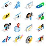 SEO icons set, isometric 3d style Stock Photos