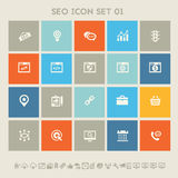 SEO icons, set 1. Multicolored square flat buttons. Modern flat design multicolored SEO icons collection Royalty Free Stock Photo
