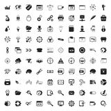 Seo 100 icons set for web. Flat Royalty Free Stock Photo