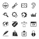 SEO 16 icons universal set for web and mobile. Flat Royalty Free Stock Photo