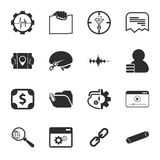SEO 16 icons universal set for web and mobile. 16 icons universal set for web and mobile flat Royalty Free Stock Images