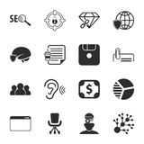SEO 16 icons universal set for web and mobile. 16 icons universal set for web and mobile flat Vector Illustration