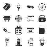 SEO 16 icons universal set for web and mobile. 16 icons universal set for web and mobile flat Stock Image