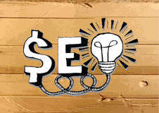 Seo Idea SEO Search Engine Optimization on Cardboard Texture ill Royalty Free Stock Images