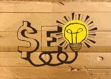 Seo Idea SEO Search Engine Optimization on Cardboard Texture ill Stock Photos
