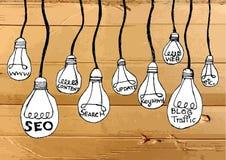 Seo Idea SEO Search Engine Optimization on Cardboard Texture Stock Photo