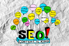 Seo Idea SEO Search Engine Optimization on crumpled paper Royalty Free Stock Image