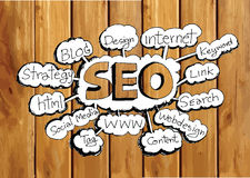Seo Idea SEO Search Engine Optimization on wood background plank Royalty Free Stock Images