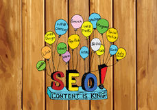 Seo Idea SEO Search Engine Optimization on wood background plank Royalty Free Stock Photography