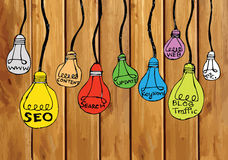 Seo Idea SEO Search Engine Optimization on wood background plank Royalty Free Stock Photos