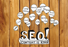 Seo Idea SEO Search Engine Optimization on wood background plank Stock Photo