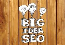 Seo Idea SEO Search Engine Optimization on wood background plank Stock Images
