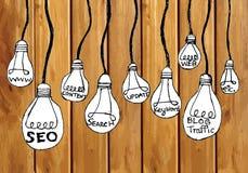 Seo Idea SEO Search Engine Optimization on wood background plank Stock Photography
