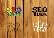 Seo Idea SEO Search Engine Optimization on wood background plank Royalty Free Stock Image