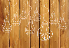 Seo Idea SEO Search Engine Optimization on wood background plank Stock Image