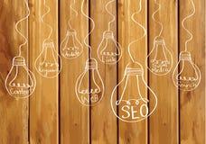 Seo Idea SEO Search Engine Optimization on wood background plank Stock Image