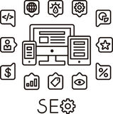 SEO illustrated icons. SEO or search engine optimization concept illustrated in message bubbles with icons around black and white computing devices Stock Photography