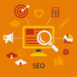SEO infographic design concept icons for web and mobile services Royalty Free Stock Image