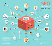 SEO Infographic Icon Concept Fotografie Stock Libere da Diritti