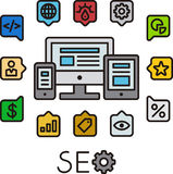 SEO infographic icons. Search engine optimization illustrated in colorful icon infographics on white Stock Photos