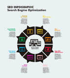 SEO Infographic. Search Engine Optimization infographic template on blue Stock Photo