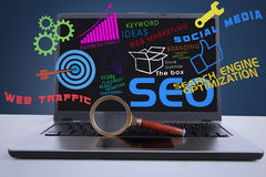 SEO internet concept on laptop. An illustration featuring a laptop computer with SEO concept and a magnifying glass in front of the laptop Royalty Free Stock Image