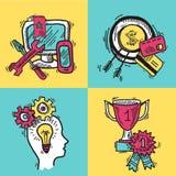 SEO internet marketing colored sketch set Royalty Free Stock Photos