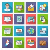 Seo Internet Marketing Flat Icon Fotografía de archivo libre de regalías