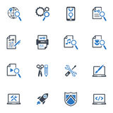 SEO & Internet Marketing Icons Set 1- Blue Series. This set contains 16 SEO and Internet Marketing icons that can be used for designing and developing websites Stock Illustration