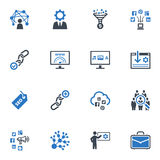SEO & Internet Marketing Icons Set 2 - Blue Series. This set contains 16 SEO and Internet Marketing icons that can be used for designing and developing websites Stock Image