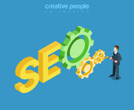 SEO internet marketing Search Optimization flat isometric vector Royalty Free Stock Photography