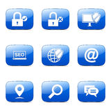 SEO Internet Sign Square Vector Blue Icon Design Stock Photography